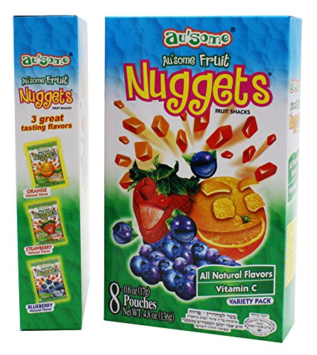All Snacks Fruit Natural (Fruit Juice Nuggets Gift Box Snack - 3 Boxes of 8 pack - Kosher All Natural Flavors Vitamin C - By Au'Some)