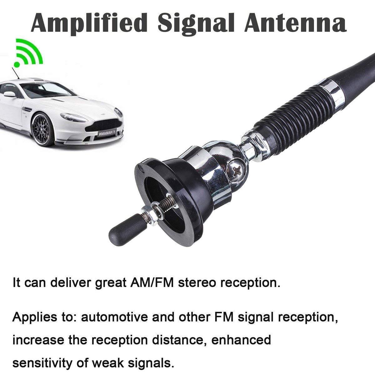 Cavo di Ricambio Estensibile da 130 cm EEEKit Antenna Universale da 16 Pollici per Auto Stereo parafango da Tetto Antenna FM Am Wing Mount
