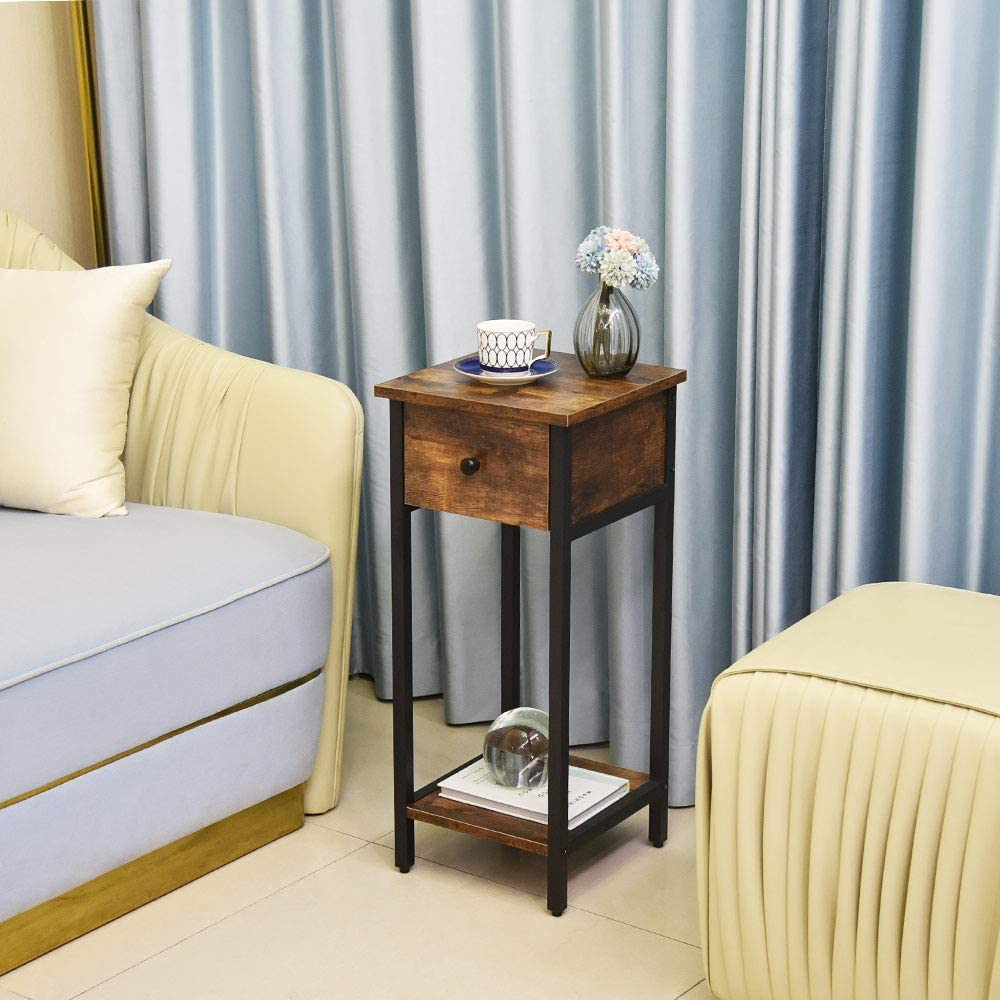 Borwn Metal Frame Side Table Suitable for Bedrooms Sofas Retro Brown Stable Furniture/… Living Rooms and Industrial Wooden End Table with Drawer Slides and Single Shelf XPELKYS Telephone Table