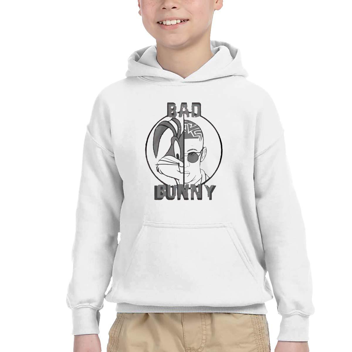 2-6 Year Old Childrens Hooded Pocket Sweater Bad /& Bunny Original Retro Literary Design White