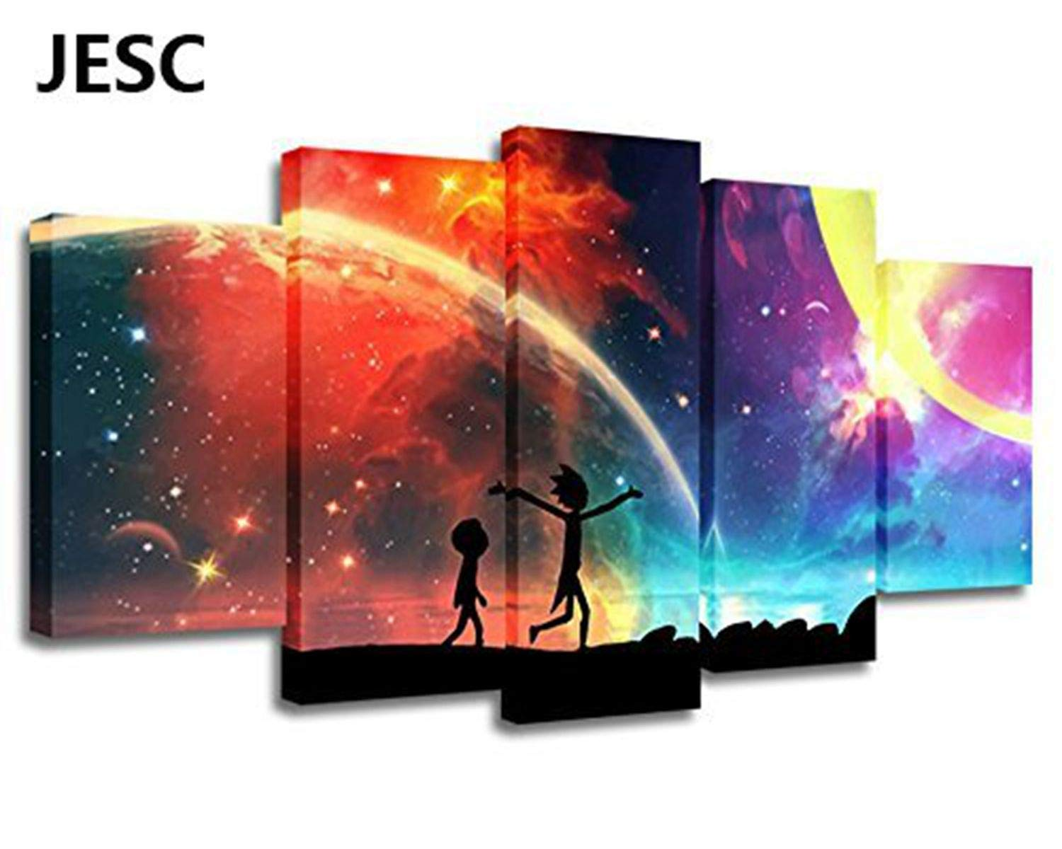 JESC 5 Panels Canvas Painting Rainbow Poster Wall Art Painting Modern Home Decor Picture for Living Room Framework Ready to Hang (with Frame, 20x35cmx2,20x45cmx2,20x55cmx1)