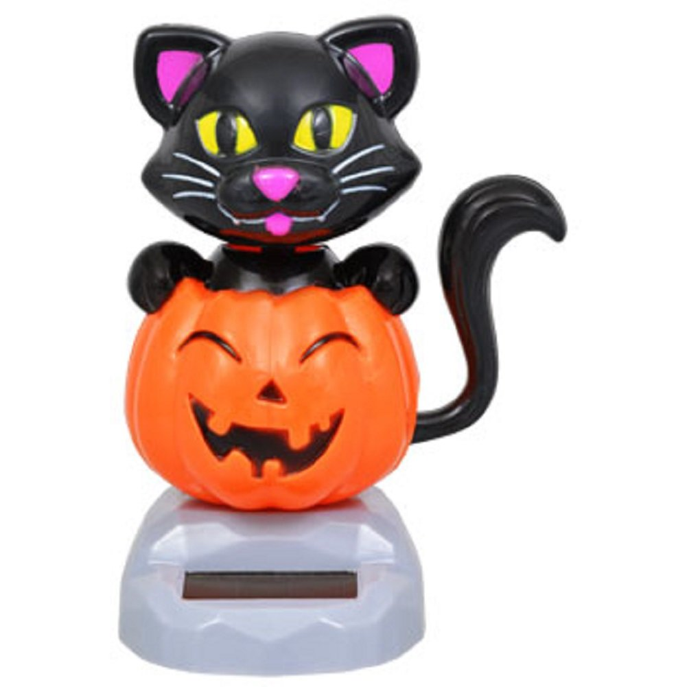 Amazon.com: Solar Powered Dancing Halloween Black Cat with Pumpkin ...