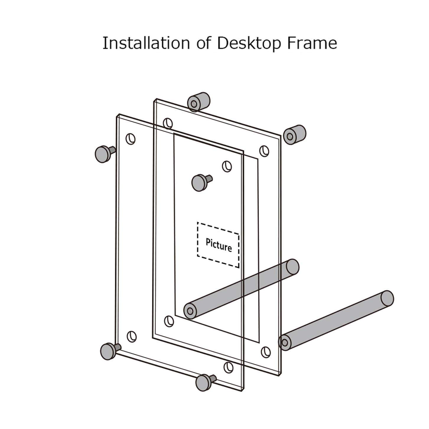 Beveled Frameless Plexiglass Photo Photography Display with Standoff Clear Acrylic Desktop Picture Frame 3.5x5