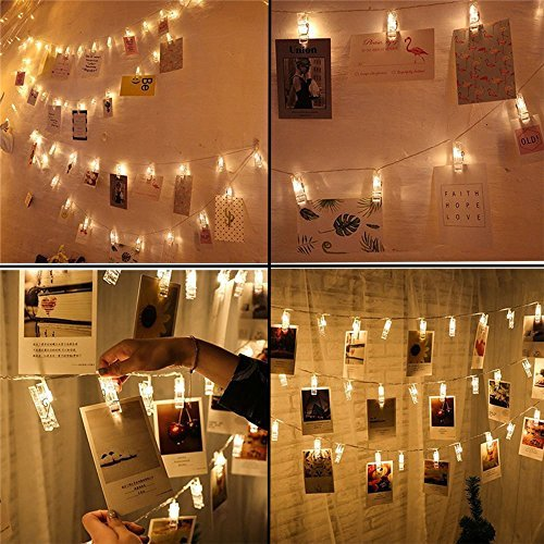 Photo Clips String Lights, 20FT 40 LED Battery-Powered LED Photo Clip String Lights, Pictures Display String Fairy Lights Perfect for Hanging Pictures, Notes, Artwork (Warm ()