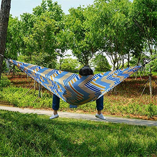 Hammock Outdoor Double Swing Thick Canvas Camping Anti-Rollover Chair 300kg Load Capacity 270 140cm 2X Advanced Carabiner 2X Nylon Strap for Outdoor
