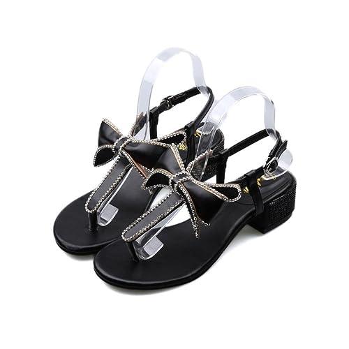 Sandalias de Señora de Tacones Altos en el Verano con la Corbata de Moño y  Taladro de Agua con Tacones de Roma.  Amazon.es  Zapatos y complementos dca76812a884