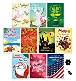 Garden Flag Set Of 10, Outdoor Double Sided Seasonal Yard Décor For Christmas, Fall, Halloween, Thanksgiving, Valentines, Spring, Easter, Summer, Patriotic Fourth of July with FREE Stopper & Wind Clip