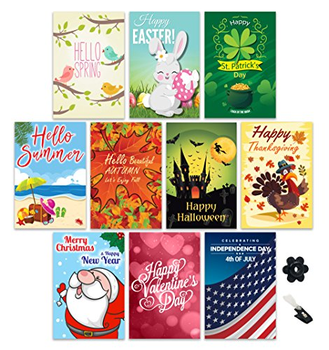 Garden Flag Set Of 10, Outdoor Double Sided Seasonal Yard Décor For Christmas, Fall, Halloween, Thanksgiving, Valentines, Spring, Easter, Summer, Patriotic Fourth of July with FREE Stopper & Wind Clip ()