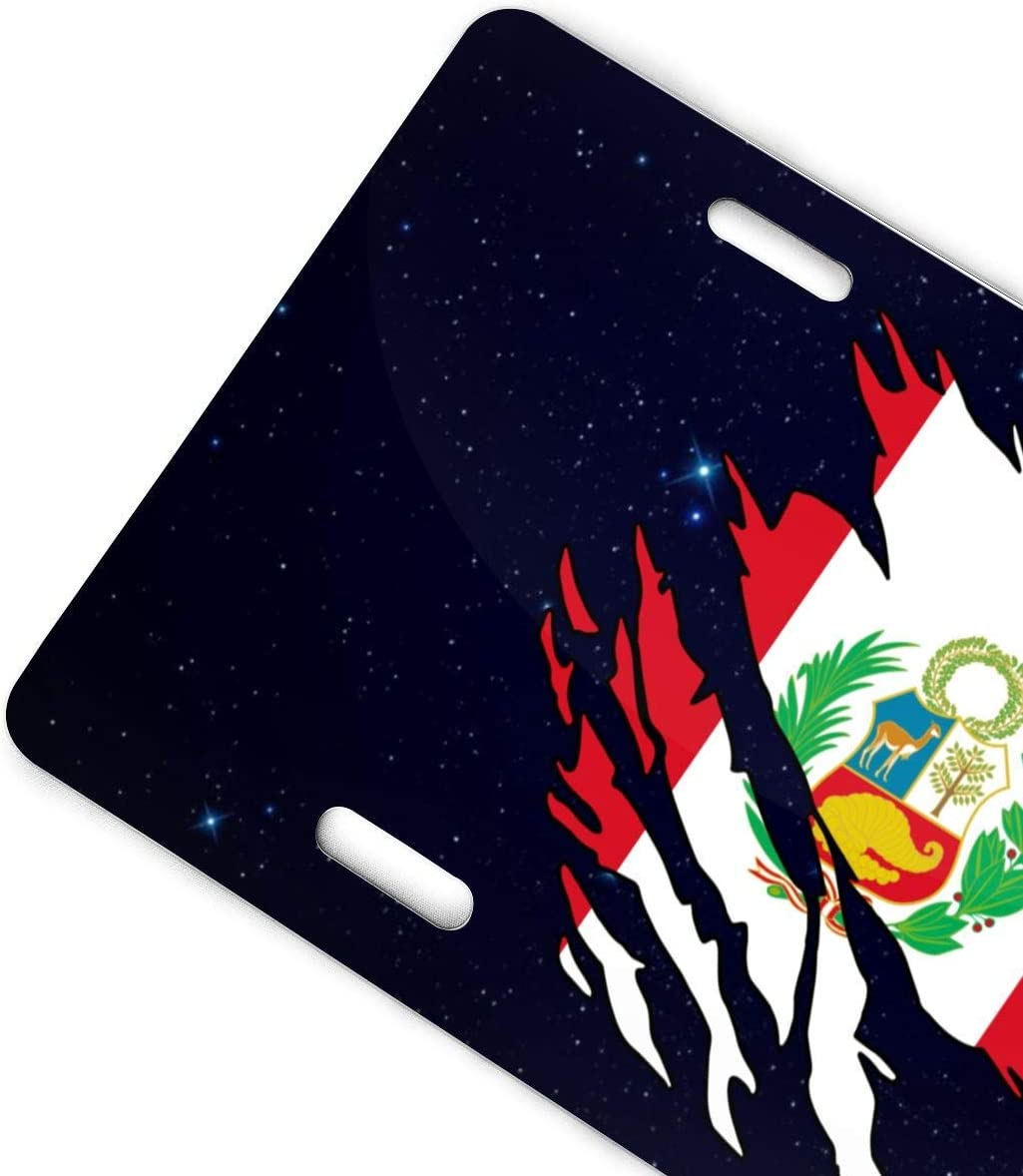 mchmcgm Ripped Peru Flag Targhe Front Plate 6 X 12 for Home,Bathroom And Bar Wall Decor Auto Vehicle License Plate Souvenir