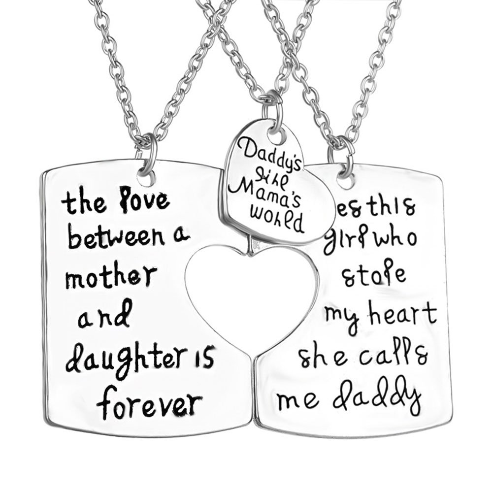 3Pcs Keychain Pendant Necklace Set Daddy's Girl Mommy's World Mother Daughter Father Family Jewelry Gift lifelovevc