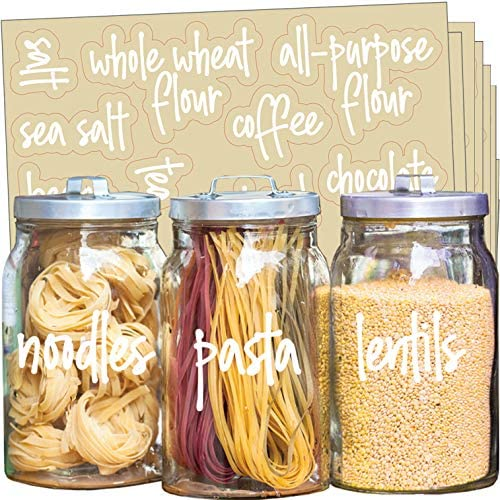 Talented Kitchen 157 White Script Pantry Labels – Kitchen Pantry Names. Food Label Sticker, Water Resistant Pantry Labels for Containers, Jar Labels Pantry Organization and Storage (157 Script Pantry)
