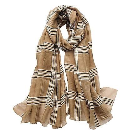 3892aa8a5ff WULIFANG Plaid Clásico Pañuelo De Seda Mujer Primavera Verano Mantón  Bufanda Mujer Malla Simple Tul Envuelto