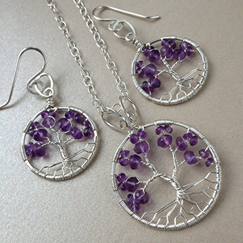Amethyst Tree Of Life Jewelry Set, 6th Anniversary, February Birthstone, Tree-Of-Life Gift Set by Rebellious Trees