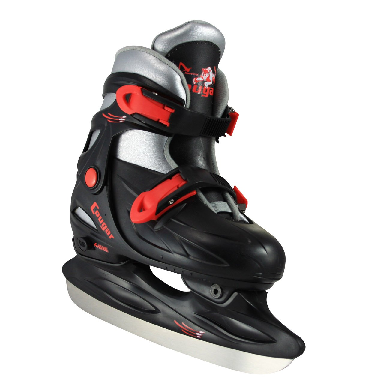 American Athletic Shoe Cougar Adjustable Hockey Skates, Black, X-Small/6-9 Youth by American Athletic