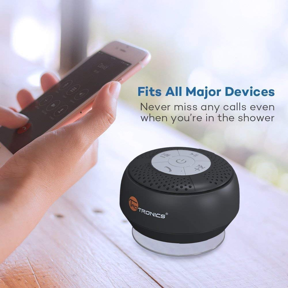 Crisp Sound, Build-in Microphone for Hands-Free Calling TaoTronics Bluetooth Shower Speaker Waterproof Portable Wireless Shower Speaker
