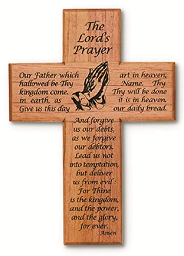 Joy Jewelers Lords Prayer with Praying Hands 8 Solid Mahogany Wood Wall Cross