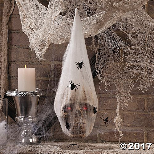 Halloween Decorations Hanging LED Skull in Spider Web Cocoon (Large Image)