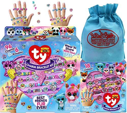 Ty Beanie Boos デラックスチャームブレスレットキット & チャームブレスレットキット ギフトセット おまけのマティのおもちゃの収納バッグ付き - 2パック