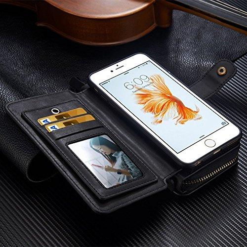 iPhone 7Plus/8Plus Women's Case,iPhone 7 Plus/8 Plus Wallet Case,Zipper Detachable Magnetic12 Card Slots Card Slots Money Pocket Clutch Cover Zipper Wallet Purse Case iPhone 7 Plus/8 Plus (Black) by TOPWOOZU (Image #8)