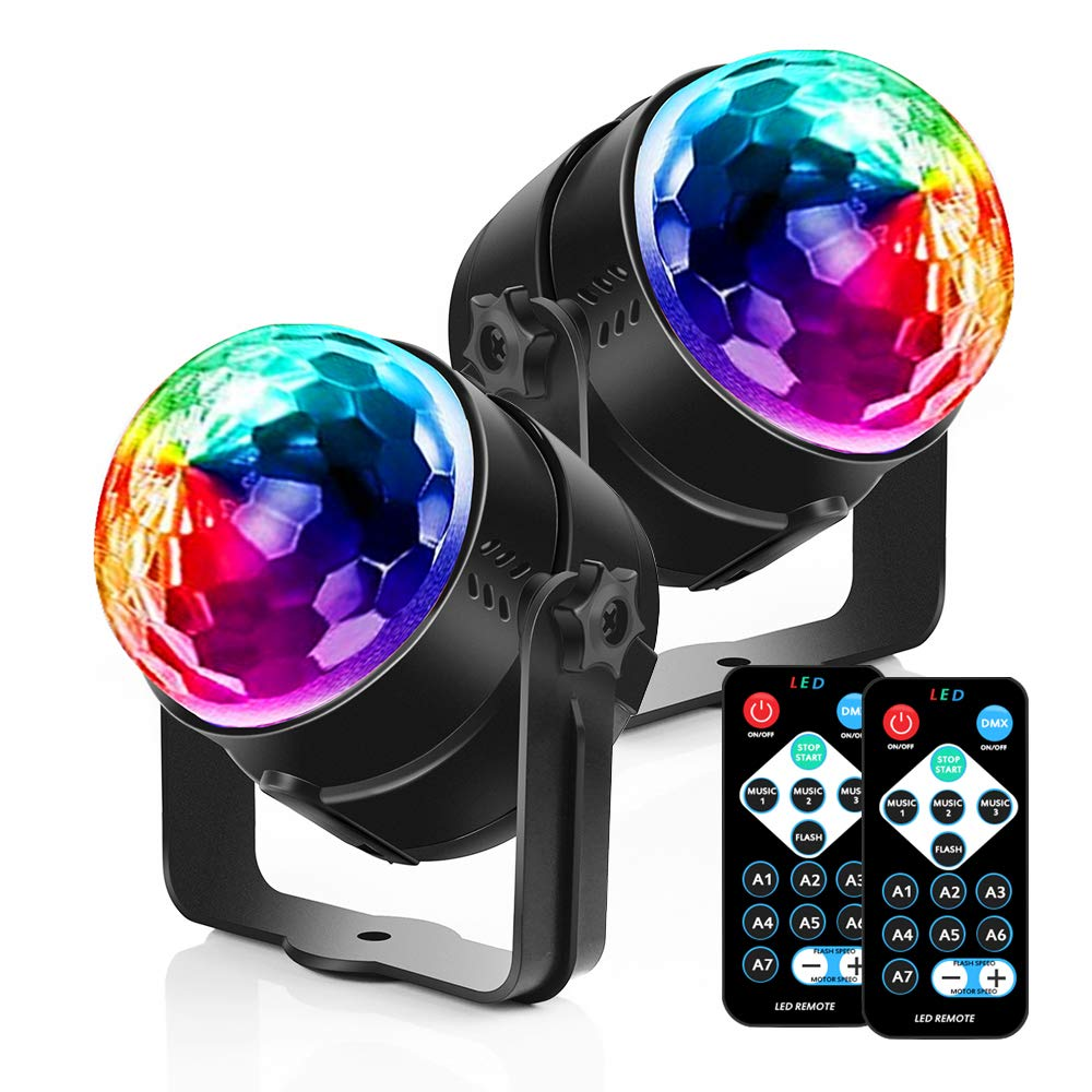 Party Lights Disco Ball Strobe Light Disco Lights, 7 Colors Sound Activated Stage Light with Remote Control for Parties Kids Birthday Dance Wedding Show Home 2 Pack