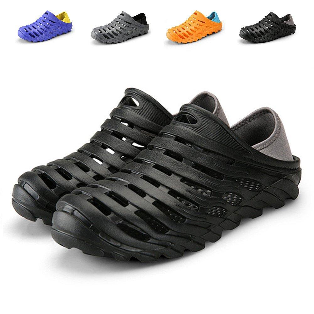 Kqpoinw Summer Men's Garden Clogs Slippers EVA Casual Fashion Unisex Beach Sandals Air Mesh Shoes for Men ((Men)6.5 US/40 EU=9.84'', Black)