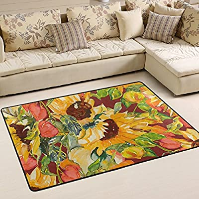 WOOR Autumn Sunflower Living Area Rugs for Living Room Bedroom Dining Office 6 x 4 Feet Modern Floor Mat Home Decor