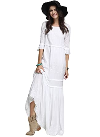 8eb2d66e6e9e5a Floryday Cotton Solid 3 4 Sleeves Maxi Casual Dresses - White -  Amazon.co. uk  Clothing