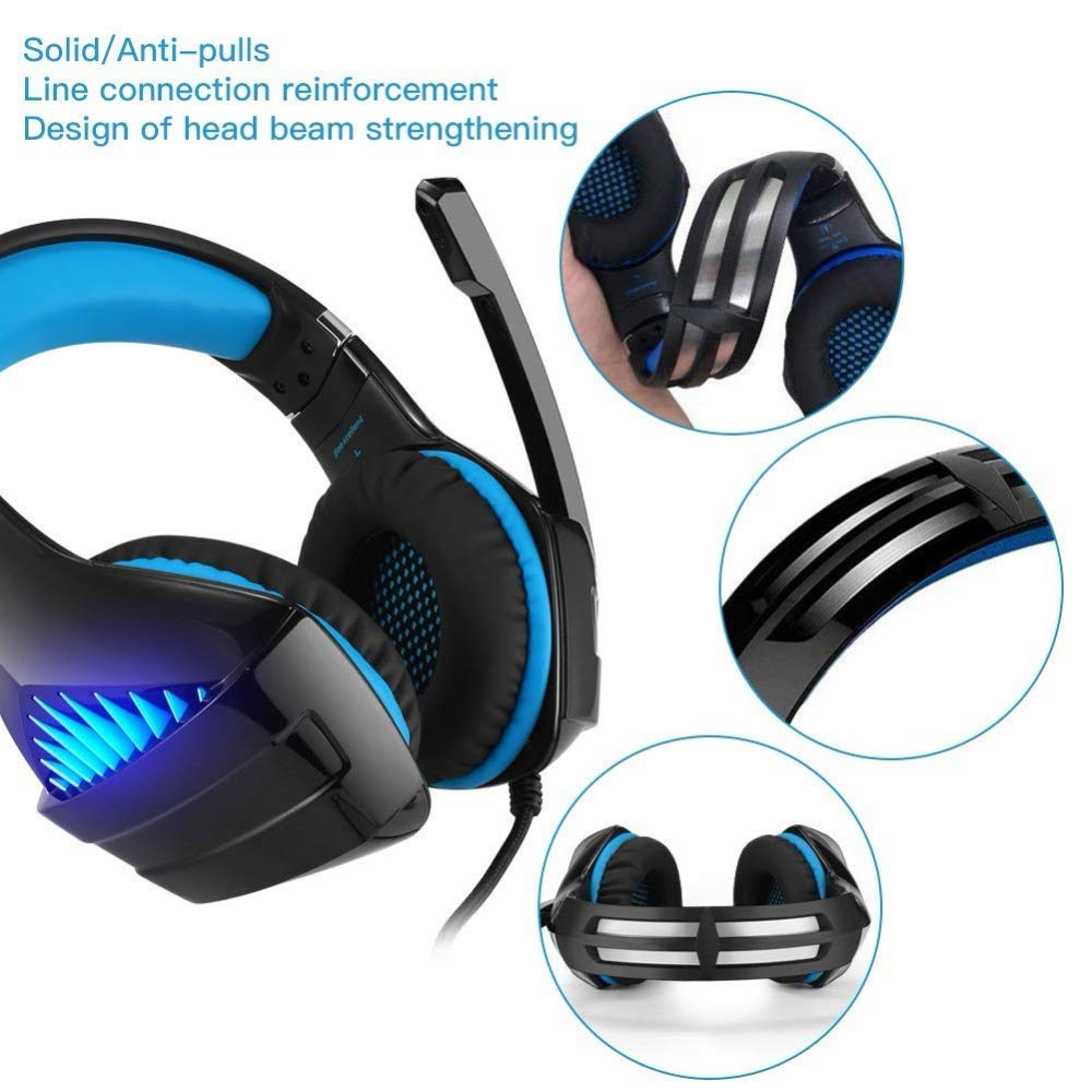 Gaming Headset,Proslife Game Headset with LED Lighting 3.5mm Surround Sound Noise Cancelling Microphone for Laptop, Desktop, MAC, Xbox, PS4, Phone ...