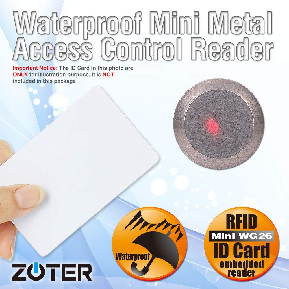 minilector con micro oculto RFID Lector de control de acceso ZOTER 125 Khz Wiegand 26 tarjeta de identificaci/ón resistente al agua