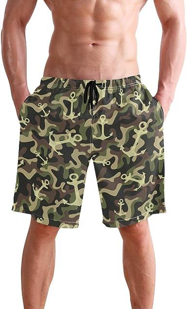 Quick-Dry Mens Beach Shorts Camouflage Happy Birthday Army Birthday Swim Trunks with Adjustable Drawstring