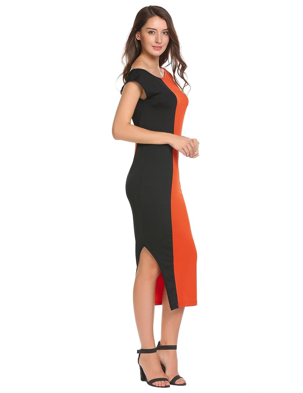 f6b1fdb59aef Meaneor Women s One Off Shoulder Dress Short Sleeve Color Block Side Split  Beach Dresses