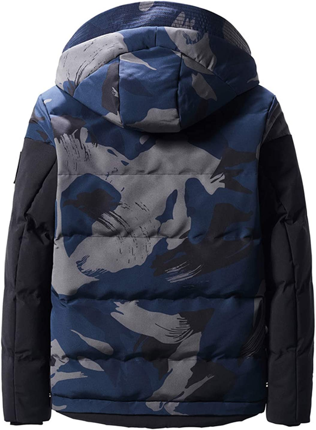 Uaneo Mens Winter Casual Warm Camouflage Full Zip Hooded Puffy Coat Jacket