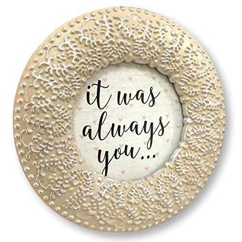 Enchante Accessories Picture Photo Frame Round Natural Silver Ornate Scroll Fleur Vintage 3 by 3 ()