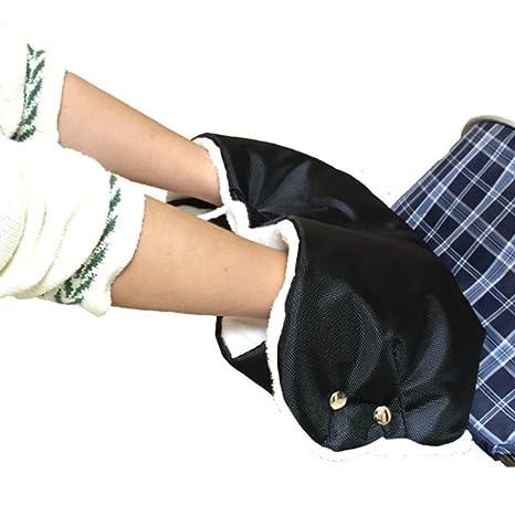 Guantes con forro polar para abrigar las manos, accesorio de cochecito de bebé, gruesos y cálidos, sin dedos, para colocar en el manillar