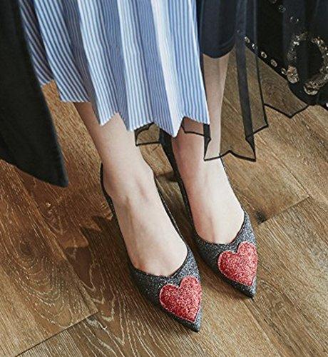 Aisun Chaussures Coeur Mari De Femme Sexy Paillettes gz1qP6g