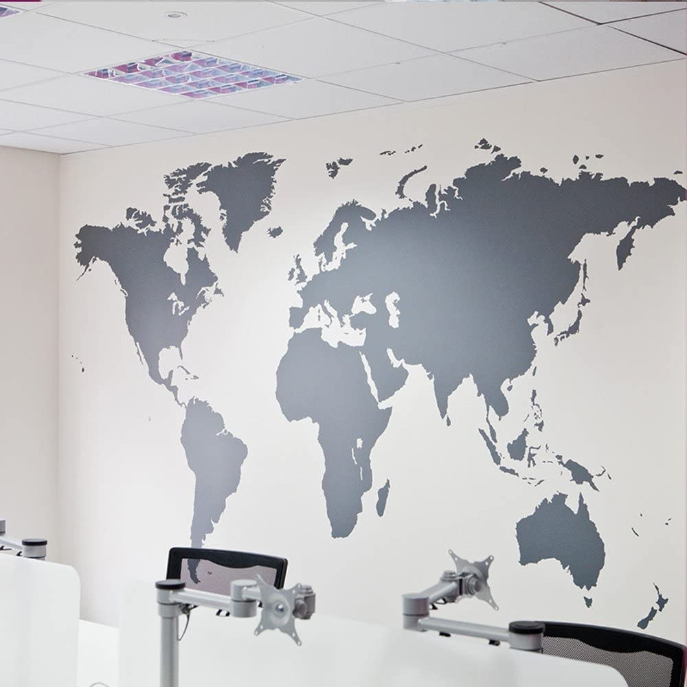 Yu2d World Map Removable Vinyl Wall Sticker Wallpaper Home Office Art Decal