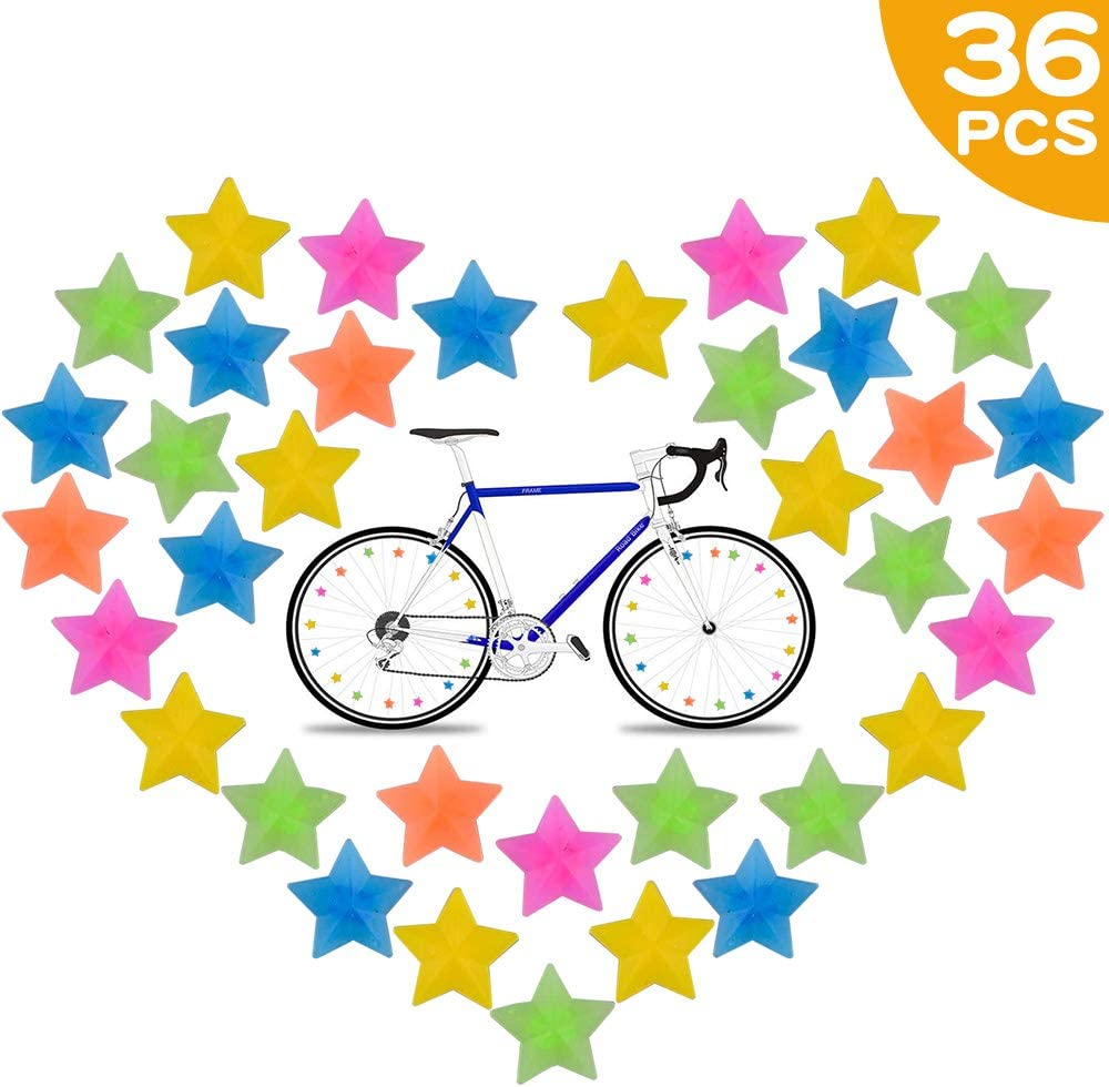 JAHEMU Plastic Clip Bicycle Wheel Spoke Beads Wire Beads Multicoloured Bikes Accessories Decorations for Kids 133 PCS Bike Spoke Beads
