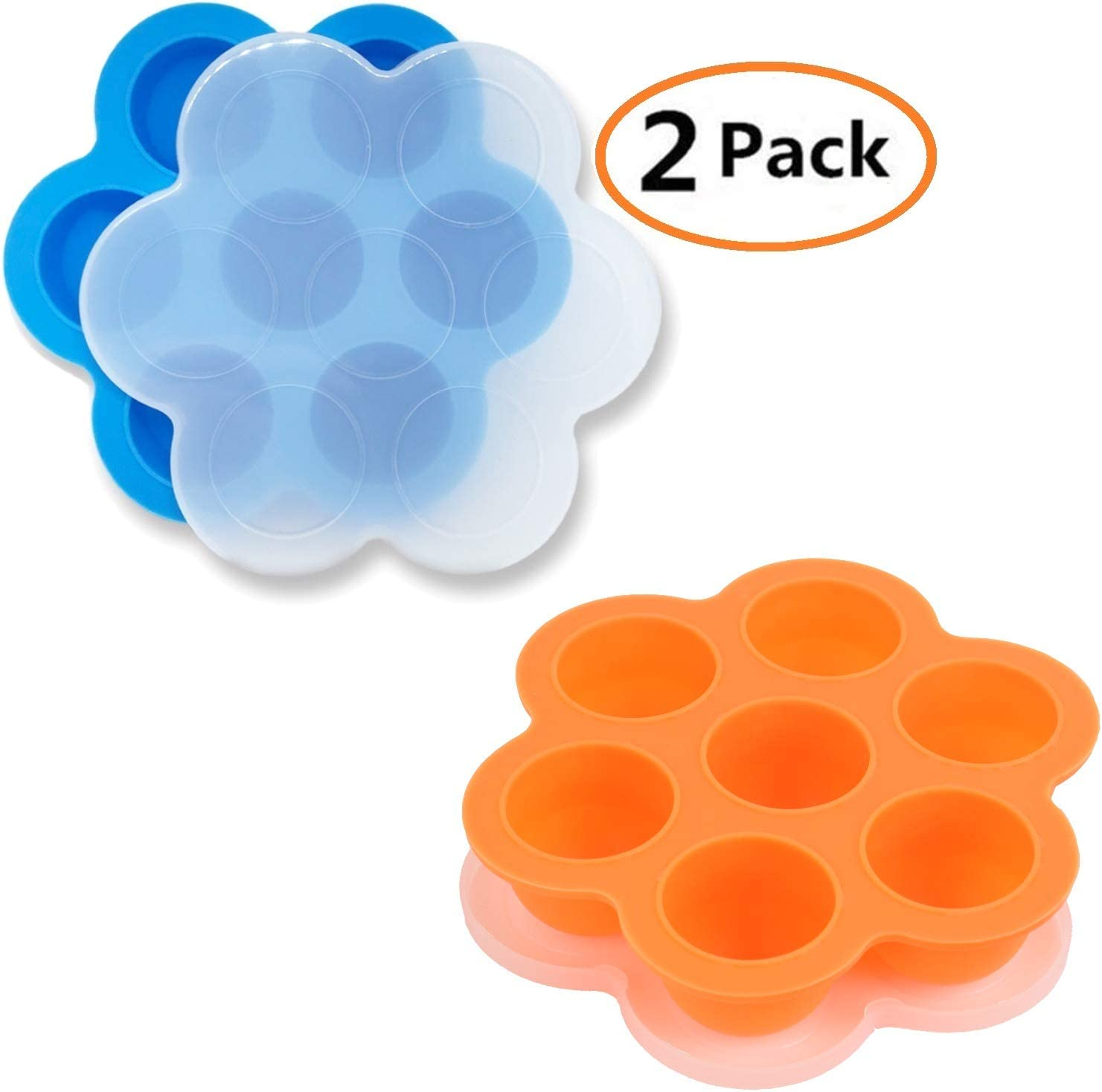 GOKCEN's Silicone Egg Bites Molds For Instant Pot Accessories - Fit Instant Pot 3,5,6,8 qt Pressure Cooker - Baby Food Freezer Tray with Lid - Reusable Storage Container - 2 Pack (Blue & Orange)