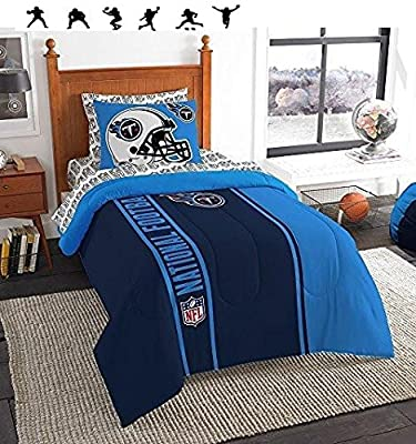 NFL TENNESSEE TITANS 5pc TWIN Size Comforter. Pillow Sham and Sheet Set + WALL DECALS