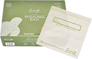 100% Compostable Food Storage Bags [Snack 150 Pack] Eco-Friendly Freezer Bags, Resealable Bags, Heavy-Duty, Biodegradable, Reusable, Off-White by Earth's Natural Alternative (ECF-SNKpk150)