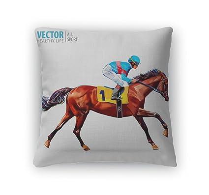 Gear New Throw Pillow Accent Decor Jockey On Horse Champion Racing Hippodrome Racetrack Jump