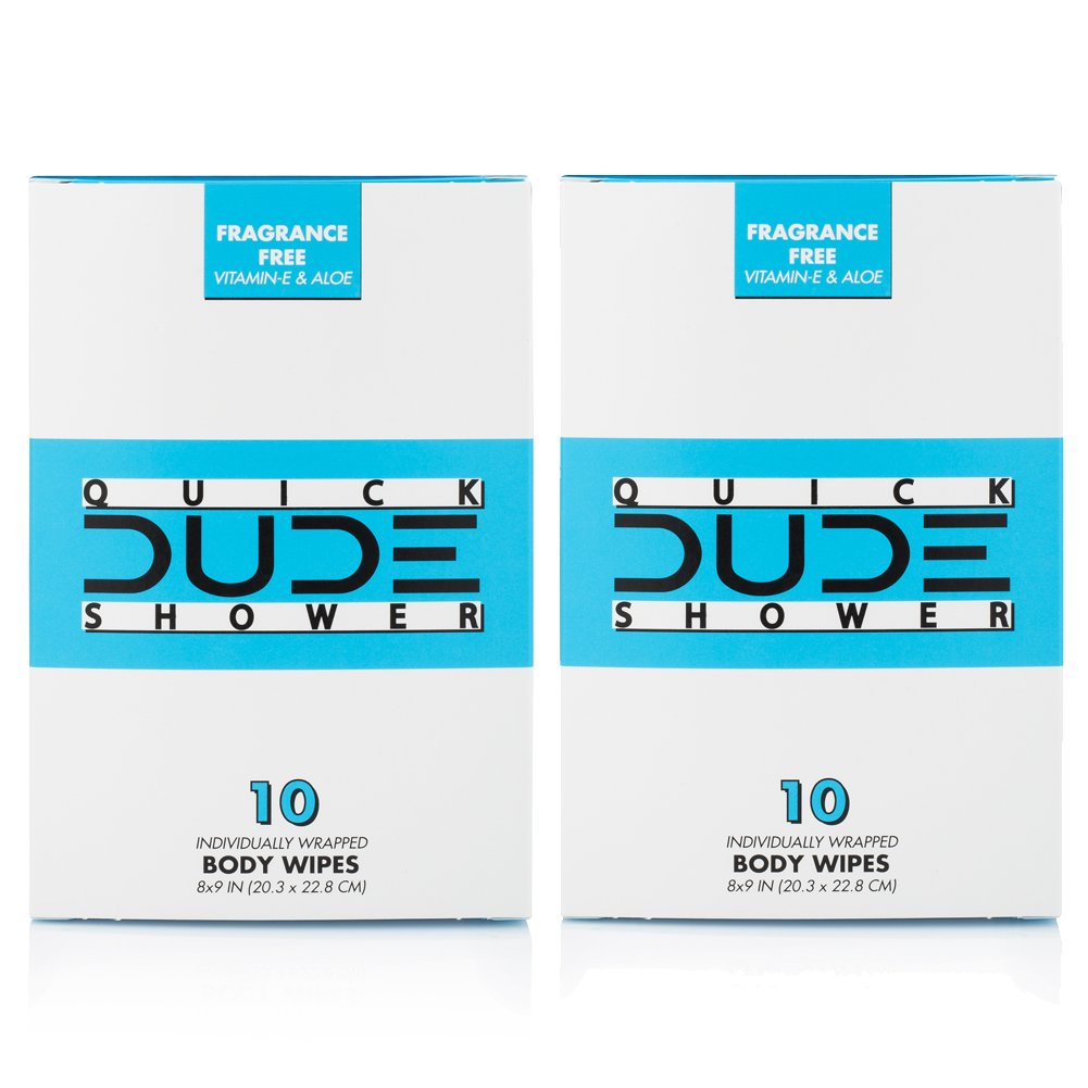 DUDE Shower Body Wipes (2 Packs 10 Wipes) Wet Wipes Individually Wrapped for Travel Unscented Naturally Soothing Aloe and Hypoallergenic, Portable Travel-Sized Individual Cleansing Cloths for Men by Dude Products (Image #1)