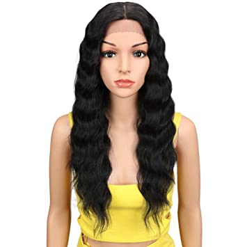 "Joedir Lace Front Wigs 24"" Long Wavy Synthetic Wigs For Black Women 130% Density"