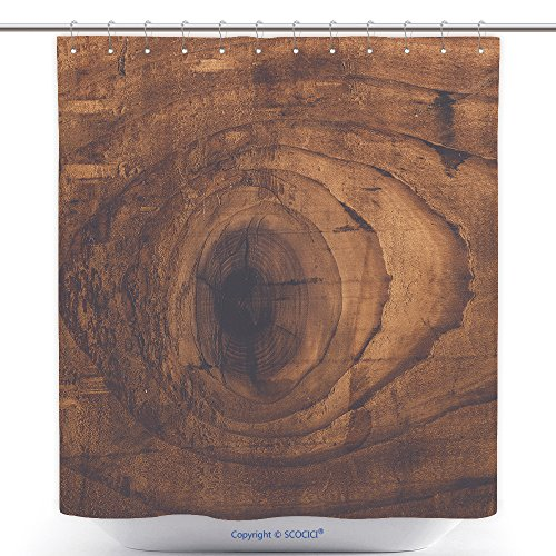 vanfan-Polyester Shower Curtains Retro Toned Rustic Wood Knot On Oak Plank Texture Used Stained Wooden Board With Growth Rings Polyester Bathroom Shower Curtain Set With Hooks(66 x 72 - Nordstrom Thousand Oaks