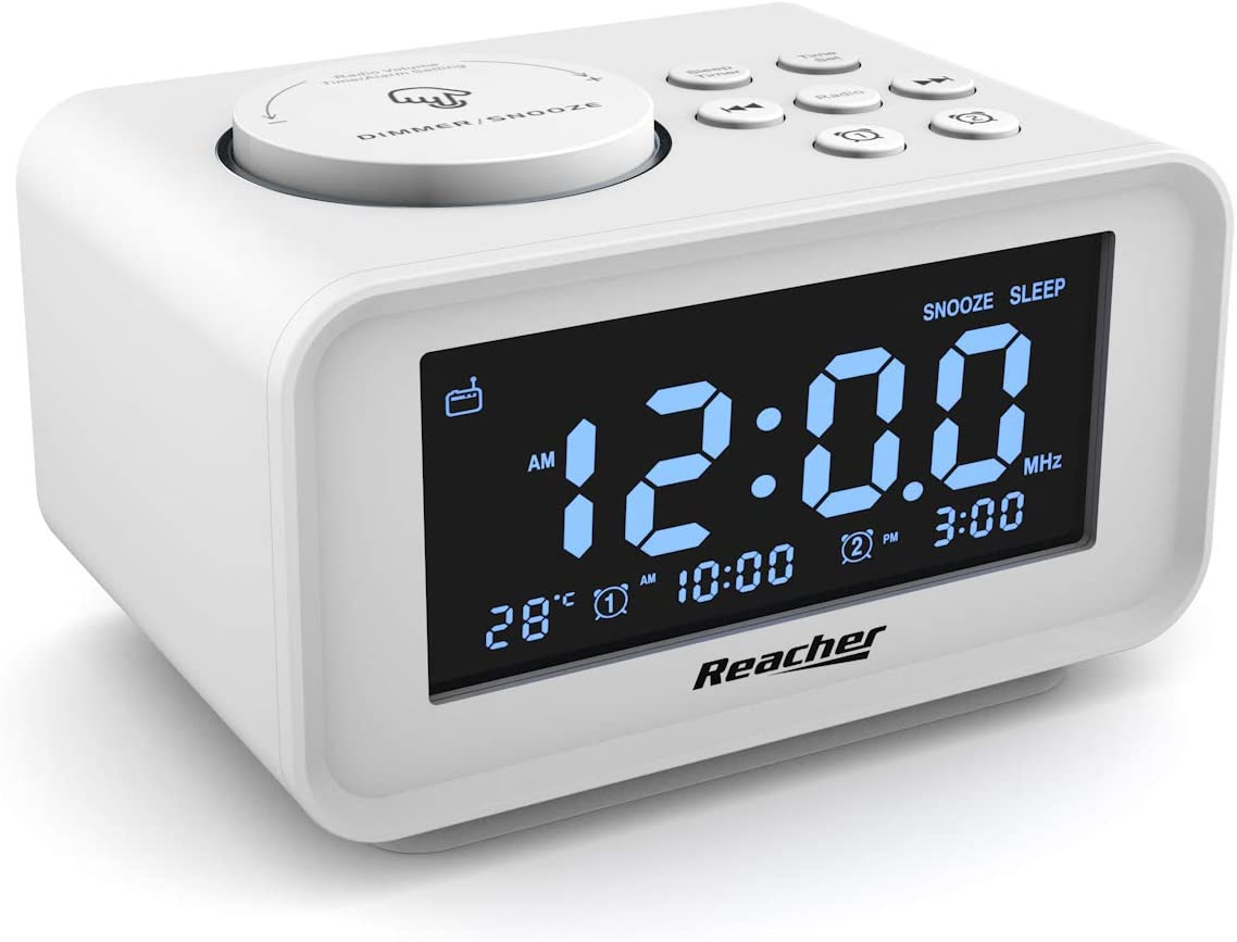 REACHER Dual Alarm Clocks Radio with Charging USB Ports, 6 Wake up Sounds