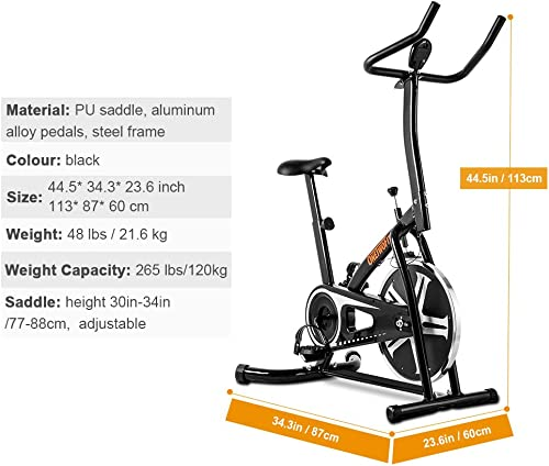 OneTwoFit Exercise Bike, Indoor Chain Stationary Workout Cycling Spin Bike with Height Adjustable and LED Display for Home Cardio Exercise, Max User Weight 265 lbs OT077