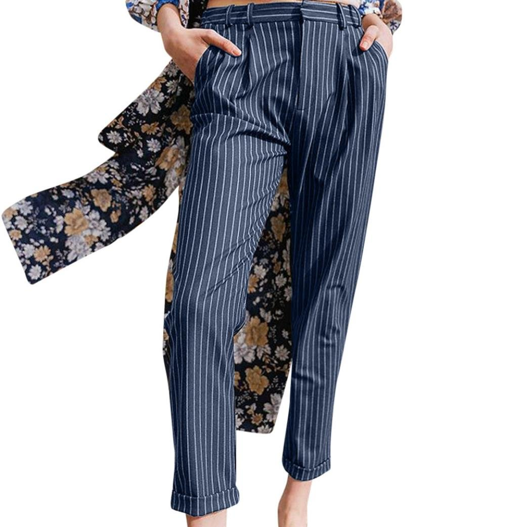 vermers Clearance Sale Womens Casual Trousers Women Striped Summer Loose Harem Pants(XL, Navy)