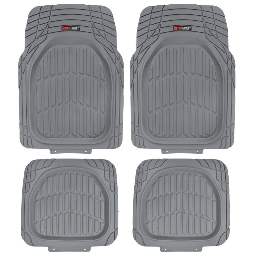 Motor Trend MT-921-GR FlexTough Tortoise - Heavy Duty Rubber Floor Mats for Car SUV Van & Truck - All Weather Protection - Deep Dish (Gray)