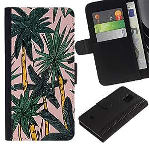 iBinBang / Flip Funda de Cuero Case Cover - Palmera Miami Acuarela Tropical Palms - Samsung Galaxy S5 Mini, SM-G800, NOT S5 REGULAR!