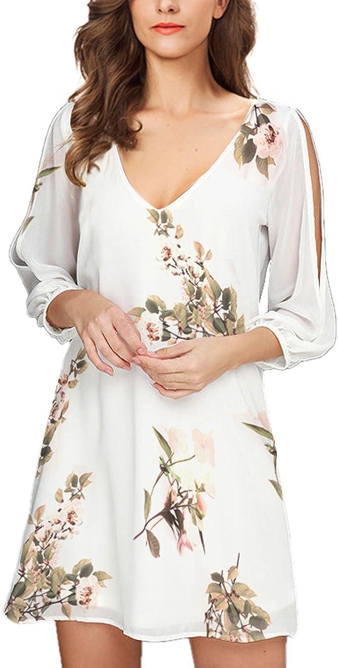 Noctflos Women's 2020 Summer Cold Shoulder Floral V Neck Shift Short Dress